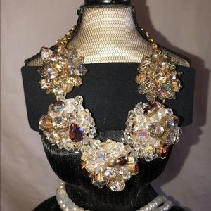 J Crew Statement Bib Necklace Stone Crystals Gold